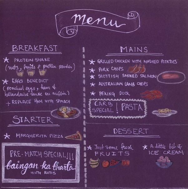 Menu - What Do Cricketers Eat And Drink?